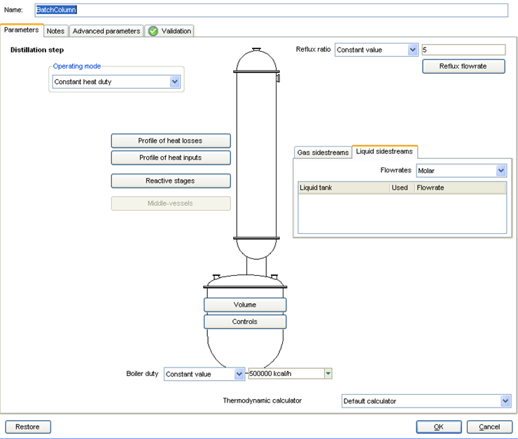 Batch Distillation Simulator Prosim