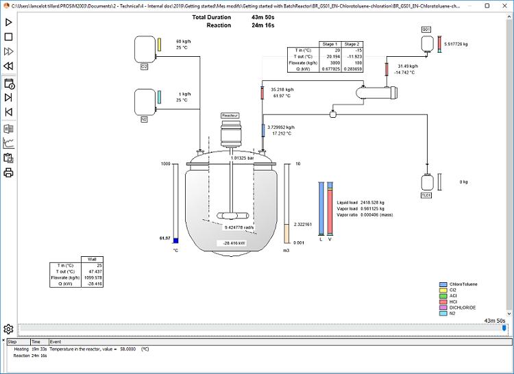 batch reactor simulation live results - batch process modeling